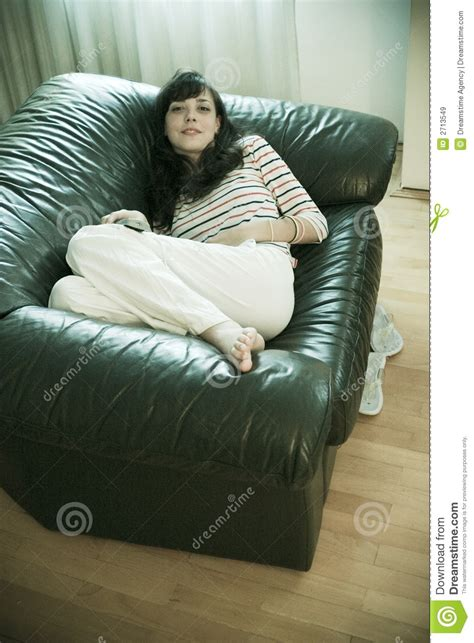 Woman Comfy On Sofa Royalty Free Stock Images - Image: 2713549