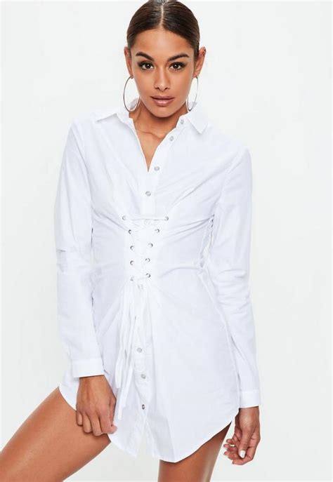 Robe-chemise blanche effet corset | Missguided