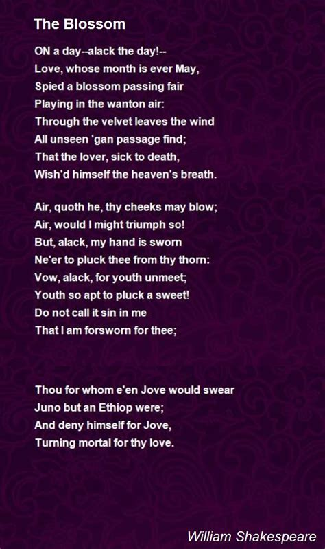 The Blossom Poem by William Shakespeare - Poem Hunter
