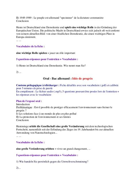 Oral bac allemand les 4 notions