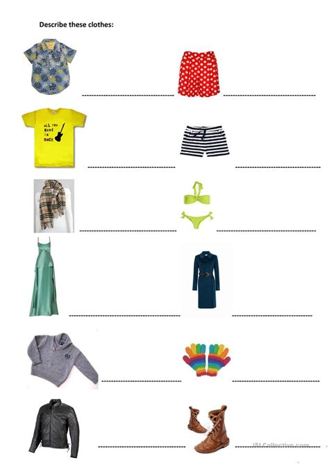 Describe these clothes worksheet - Free ESL printable