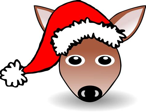 Clipart - Funny Fawn Face Brown Cartoon with Santa Claus hat