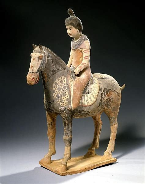 Chinese Terracotta Statue of a Female Rider Tang Dynasty