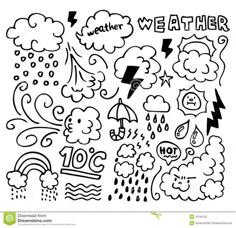Set Of Grunge Weather Hand Drawing Icons Stock Vector