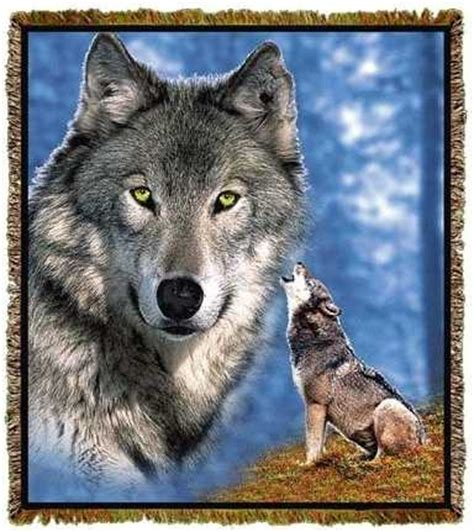 Wolf Blanket Throw Tapestry Afghan USA from Anwo Animal World®